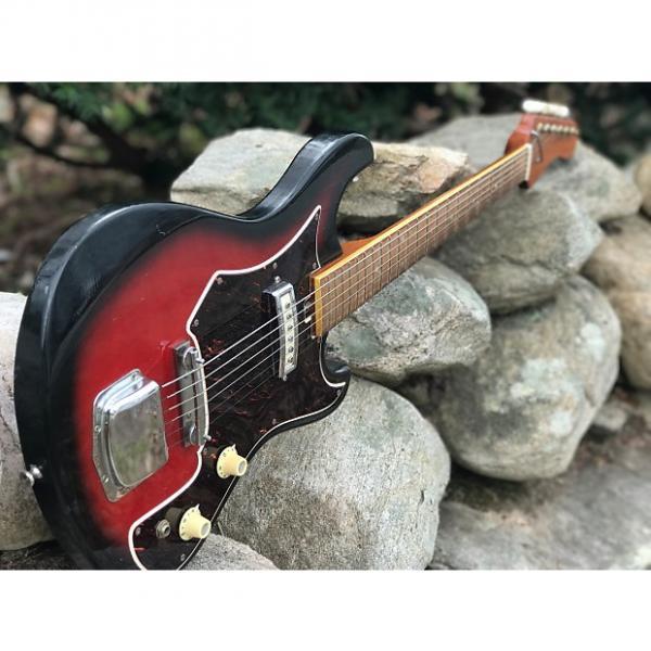 Custom 1967 Kingston Tiesco Single Pickup Surf Guitar with OHSC Red Burst #1 image