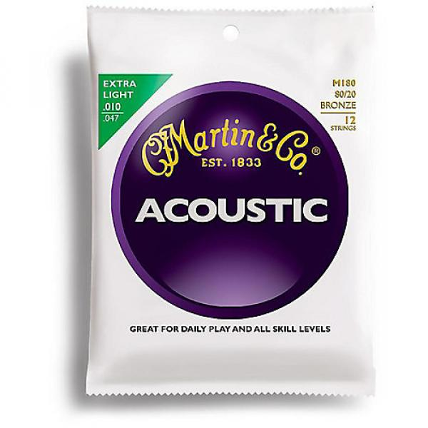 Custom Martin M180 12 Strings 80/20 Bronze Extra Light Acoustic Guitar Strings #1 image