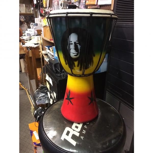 Custom Bob Marley djembe drum Djembe drum African colors with marijuana plant #1 image