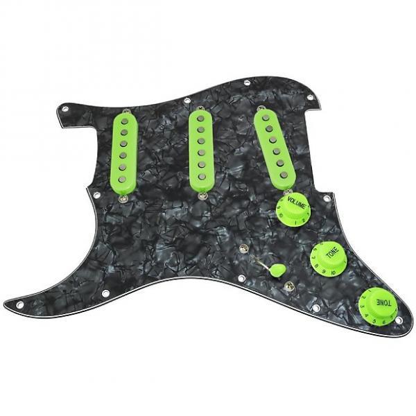 Custom Loaded LEFT HANDED Strat Pickguard, Fender Deluxe Drive, Black Pearl/Green #1 image