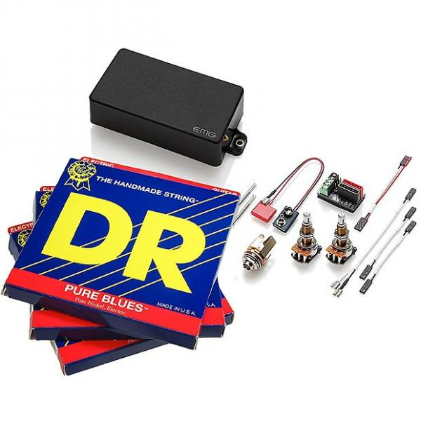 Custom EMG 60 Active Humbucker, Black LONG SHAFT Pots, 3 sets DR Pure Blues 11-50 #1 image