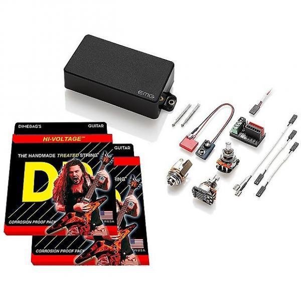 Custom EMG 60 Active Humbucker, Black, w 2 sets DR Strings Dimebag Hi-Voltage 9-46 #1 image