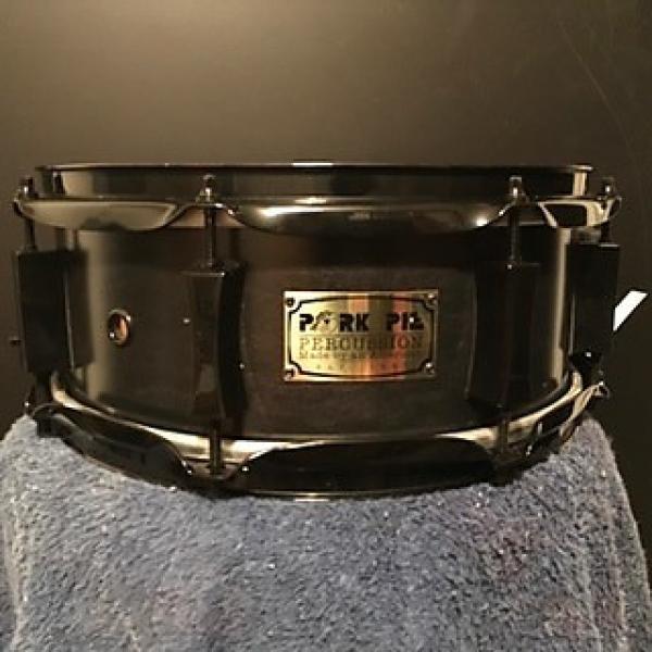 Custom pork pie percussion 5 x 12 little squealer  maple snare drum 2004 black #1 image