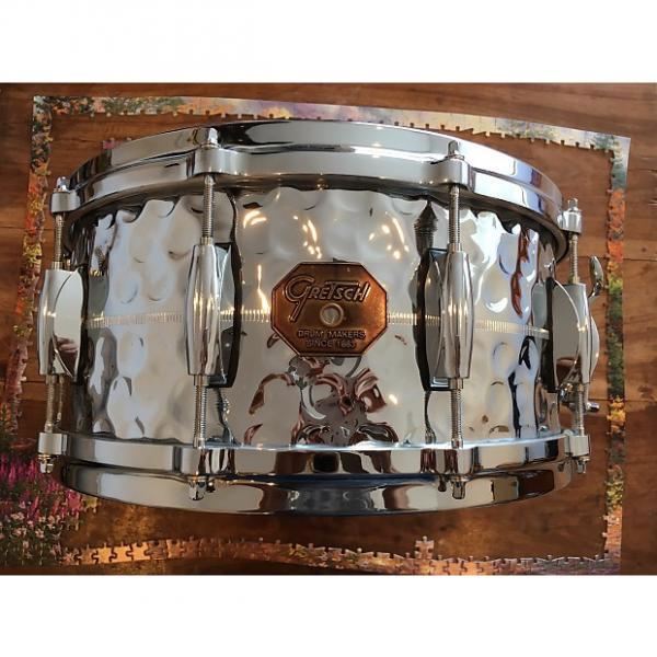 Custom Gretsch Hammered Chrome over Brass U.S.A. Custom COB Snare Drum Stop Sign Badge #1 image