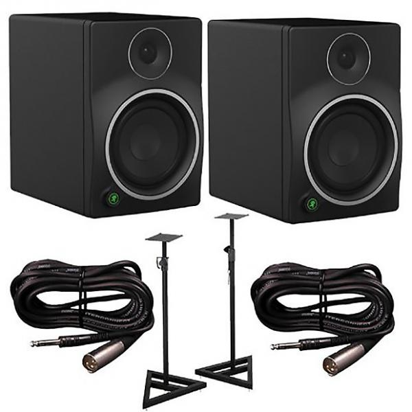 Custom Mackie - MR6mk3 Studio Monitors Pair with Cables and Stands Bundle #1 image