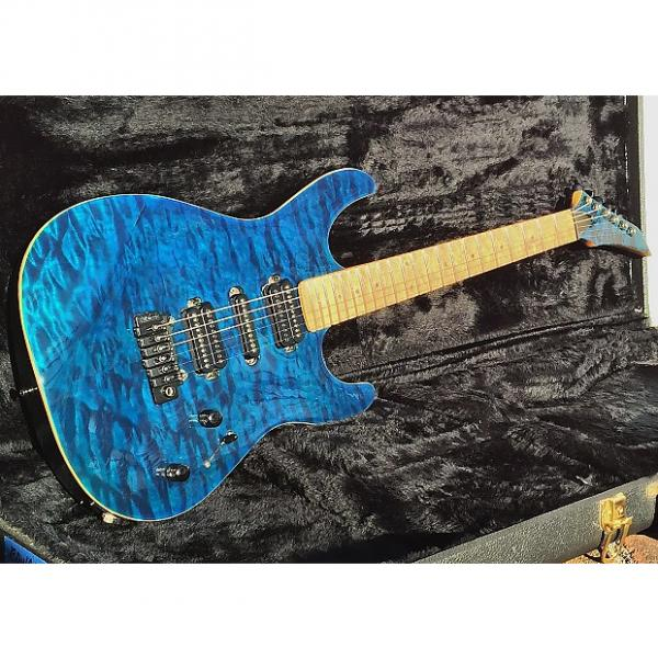 Custom Carvin-Contour 66 . C66-Blue-Quilt-HSH-5-way-Maple-neck-Wilkinson-SS-frets-NICE Gig Bag #1 image