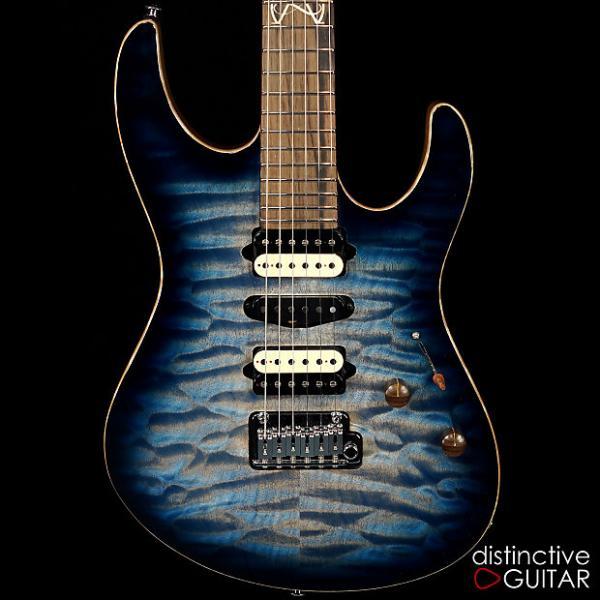 Custom Suhr Custom Modern Distinctive Select Quilt Maple Faded Trans Blue Whale Burst #1 image