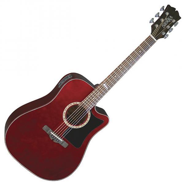 Custom Sierra SD35CEWR Alpine Dreadnought Acoustic-Electric Guitar - Wine Red #1 image