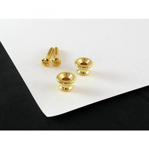 Custom Strap Button Gold Set of 2 w/ screws for Gibson AP 6695-002 #1 image