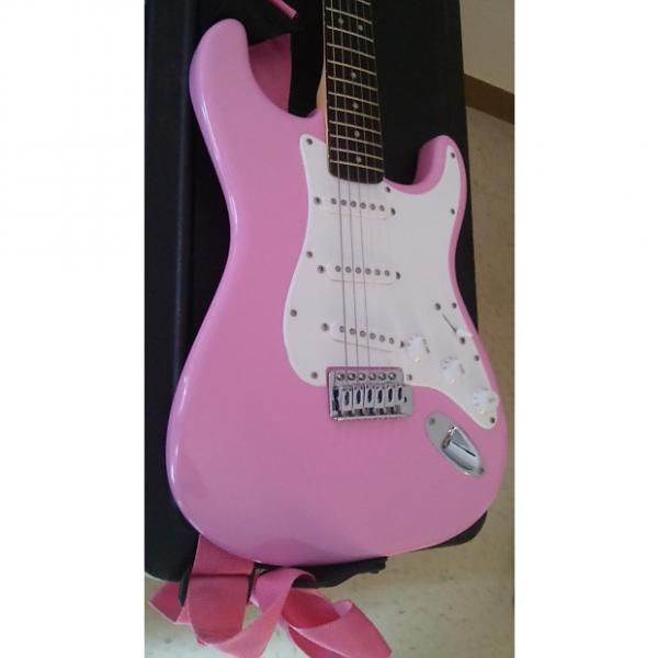 Custom Fender Squier Series 6-String Electric Pink/ White #1 image