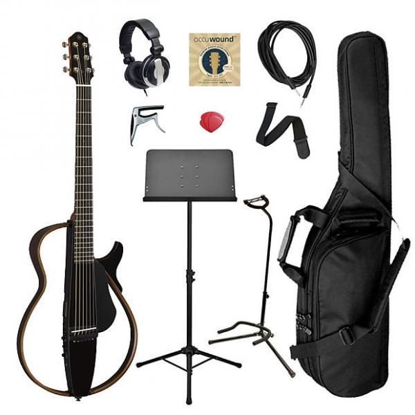 Custom Yamaha SLG200S Steel String Silent Guitar Bundle - Black #1 image