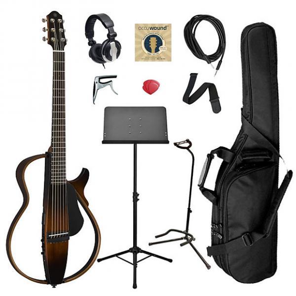 Custom Yamaha SLG200S Steel String Silent Guitar Bundle - Brown Sunburst #1 image