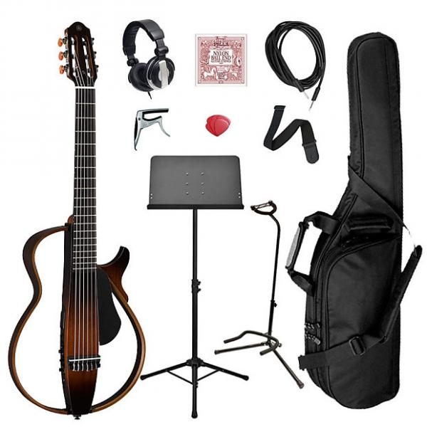 Custom Yamaha SLG200N Classical Silent Guitar Bundle - Brown Sunburst #1 image