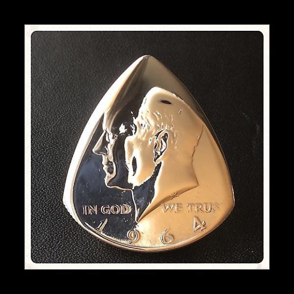 Custom Premium Guitar Plectrum. Silver 1964 USA Kennedy Half Dollar Pick / Plectrum #1 image