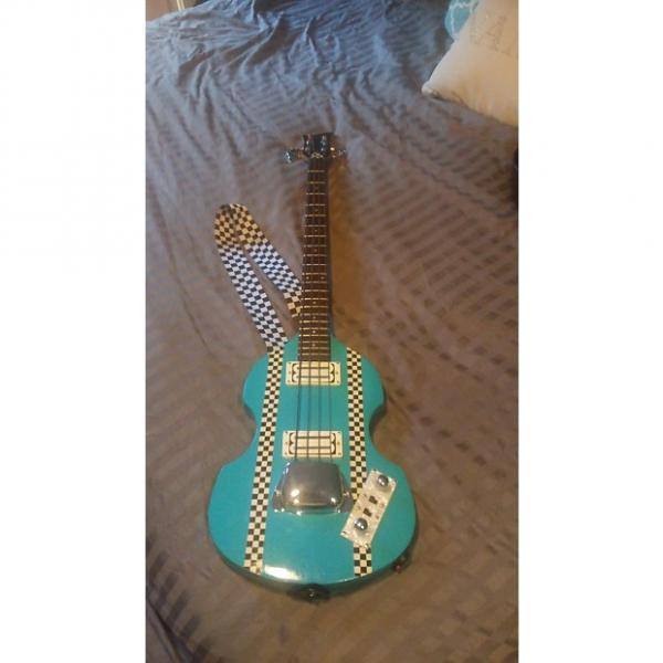 Custom Greco not Hofner (rebuild) Violin Bass 80's/90's  light blue/ turquoise #1 image