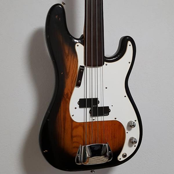 Custom 1977 Fender Fretless Precision Vintage P Bass Guitar in Sunburst #1 image