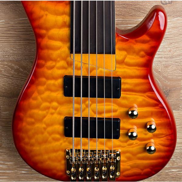 Custom 2017 Wolf KTB-6 Red Burst 6 String Fretless Bass #1 image