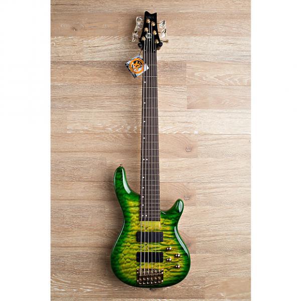 Custom 2017 Wolf KTB-6 Green Burst 6 String Bass #1 image