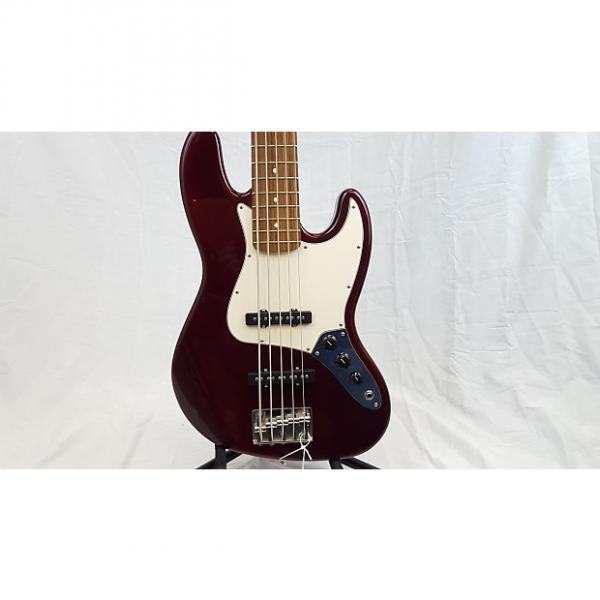 Custom Fender MIM 5-String Jazz Bass 2002 Red Wine #1 image
