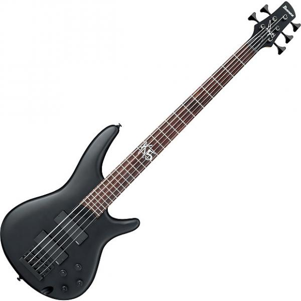 Custom Ibanez Fieldy Signature K5 5 String Electric Bass Black Flat #1 image