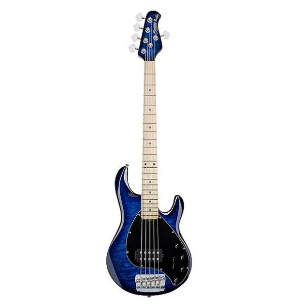 Custom Sterling by Music Man Ray35 Quilt Maple 5-String Electric Bass Neptune Blue +Bag #1 image