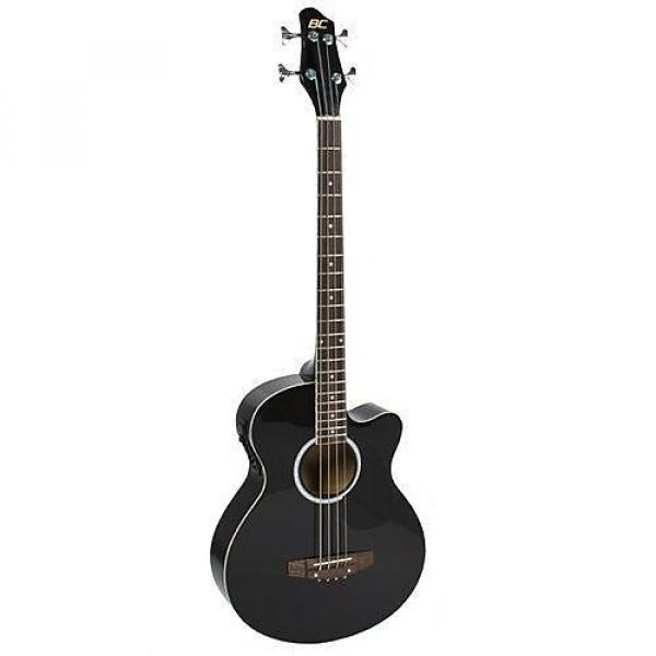 Custom Electric Acoustic Bass Guitar Black Solid Wood Construction With Equalizer New #1 image