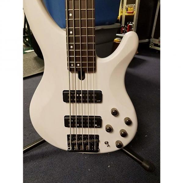 Custom Yamaha TRBX 505 5 string bass 2015  White #1 image