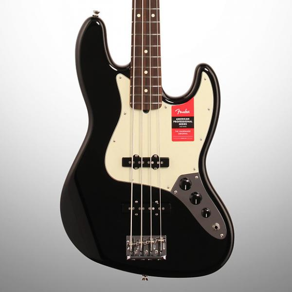Custom Fender American Pro Jazz Electric Bass, Rosewood Fingerboard (with Case), Black #1 image