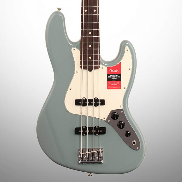 Custom Fender American Pro Jazz Electric Bass, Rosewood Fingerboard (with Case), Sonic Gray #1 image