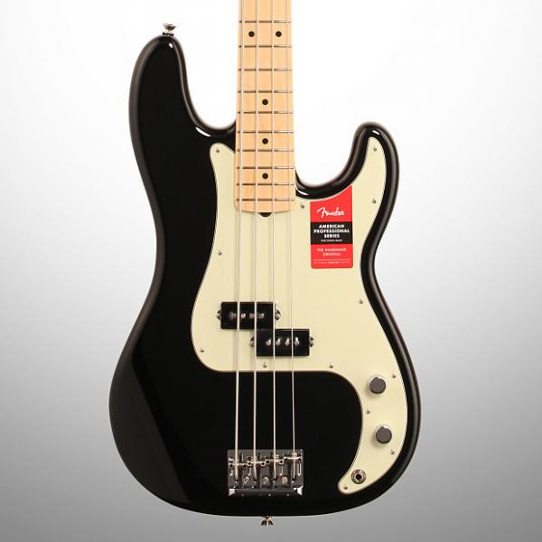 Custom Fender American Pro Precision Electric Bass, Maple Fingerboard (with Case), Black #1 image
