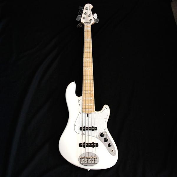 Custom Lakland Skyline DJ5 White 5 String Darryl Jones Signature Bass #1 image