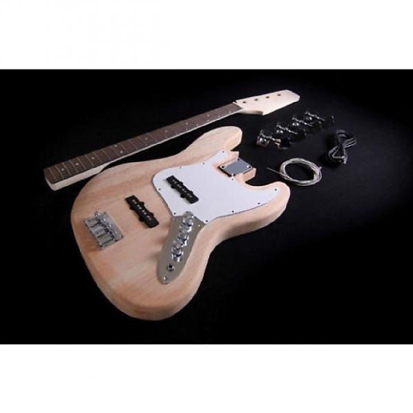 Custom DIY Electric Jazz Bass Guitar Kit Project Bolt-On Solid Mahogany Mapple Neck #1 image