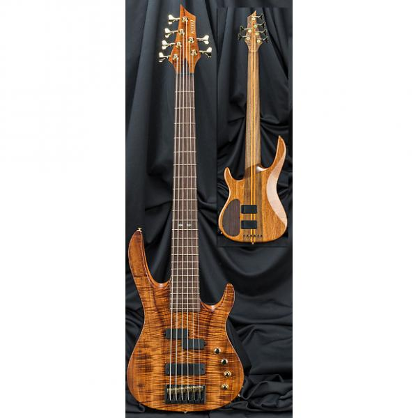 Custom Kiesel Carvin X64 Xccelerator 6 String Electric Bass Guitar 2017 Bookmatched Flamed Koa Top w/ Case #1 image