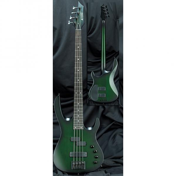 "Custom Kiesel Carvin X44 Xccelerator 4 String 34"" Scale Electric Bass Guitar Translucent Greenburst w/ Case #1 image"