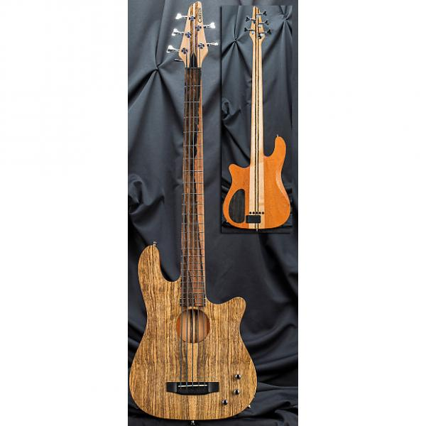 Custom Kiesel Carvin AC50 5 String Acoustic Electric Bass 2016 Black Limba Top Royal Ebony Fretboard #1 image