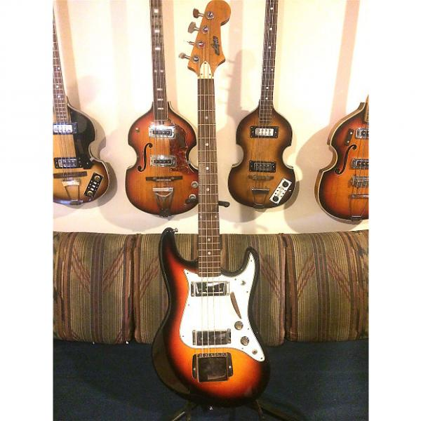 Custom Vintage Lyle 1820 Jazz style bass, Matsumoku, 1960's,  3 Tone Sunburst all original #1 image