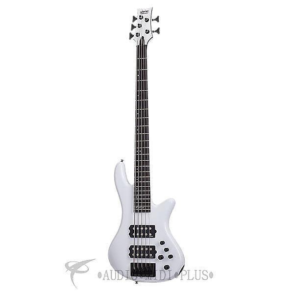 Custom Schecter Stiletto Stage-5 Ebony Fretboard Electric Bass Gloss White - 2482 - 815447023617 #1 image