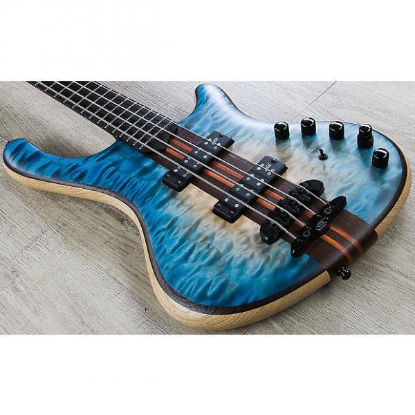 Custom Mayones Prestige Classic 4 Bass, Ebony Fingerboard, Hard Case - Trans Natural Flat Blue Burst #1 image