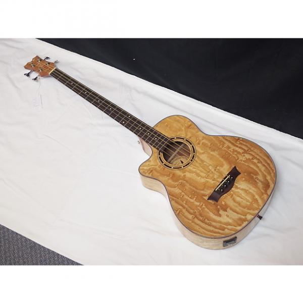 Custom DEAN Exotica Quilt Ash acoustic electric LEFTY 4-string BASS guitar new EQABA #1 image