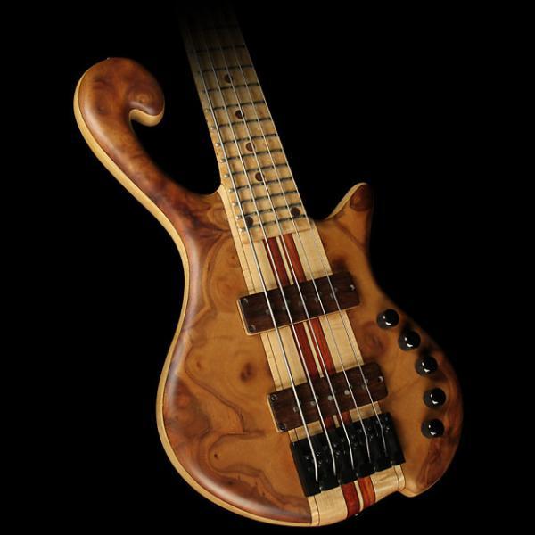 Custom Used May Custom Basses DC5S Burl Top Electric Bass Guitar Natural #1 image