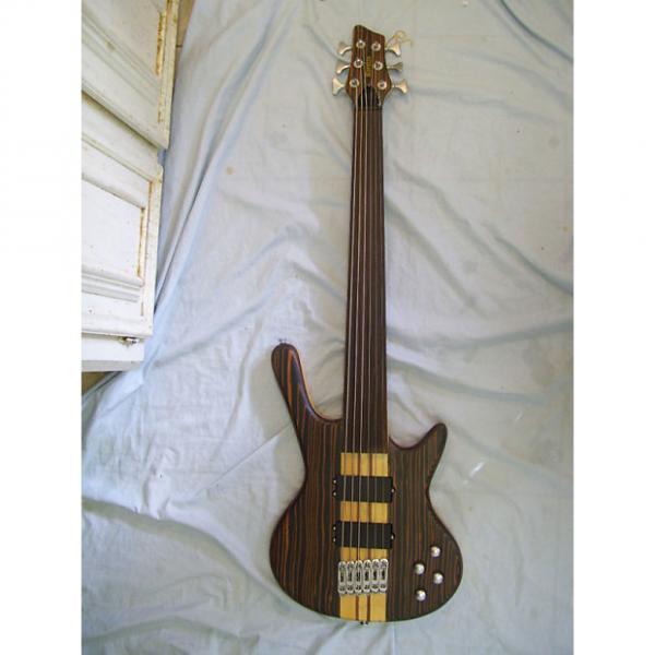 Custom Fretless bass guitar, 6 string, Zebra wood Neck through body #1 image