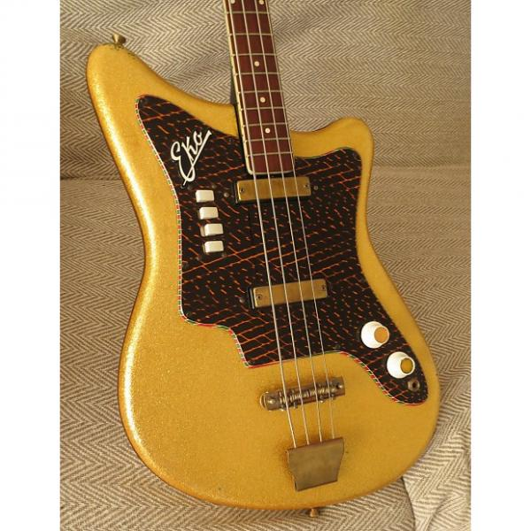 Custom 1960s Eko  1001 Electric Bass Guitar Gold Sparkle  Finish Made in Italy #1 image