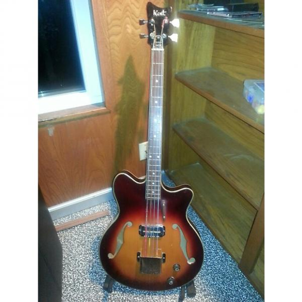 Custom Kent Hollowbody Bass With SUPER RARE GUMBY headstock   1960's Sunburst Cherry Nice Original Condition #1 image