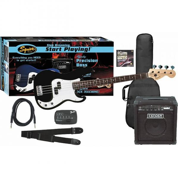 Custom Mega Deal! Fender Start Playing P-Bass Pack in Black w/ Rumble 15 Amp & Accessories! Free Shipping! #1 image