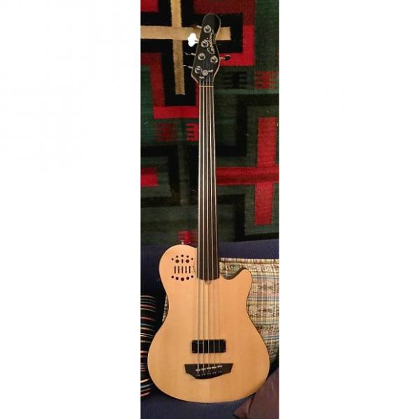 Custom Godin A5 Ultra fretless 5 string bass 2011 Natural spruce #1 image