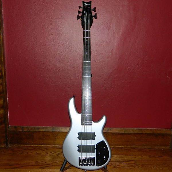 Custom Schecter Diamond Series Raiden Custom-5 5-string bass Metallic Silver w/HSC MINT! String-Thru bridge #1 image
