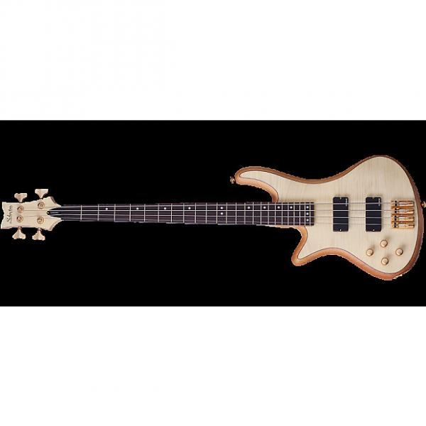 Custom Schecter Stiletto Custom-4 Left-Handed Electric Bass Gloss Natural #1 image
