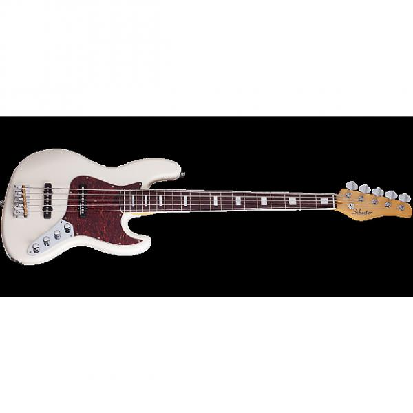 Custom Schecter Diamond-J 5 Plus Electric Bass in Ivory Finish #1 image