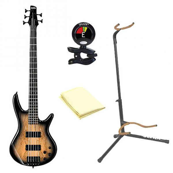 Custom Ibanez GSR205SM 5-String Electric Bass Guitar in Natural Gray Burst With Accessories #1 image
