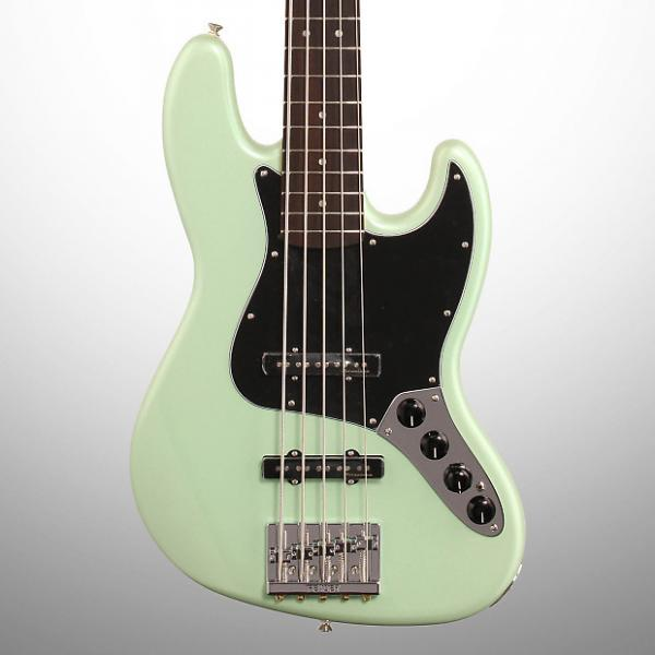 Custom Fender Deluxe Active Jazz V Electric Bass, 5-String (with Gig Bag), Surf Pearl #1 image
